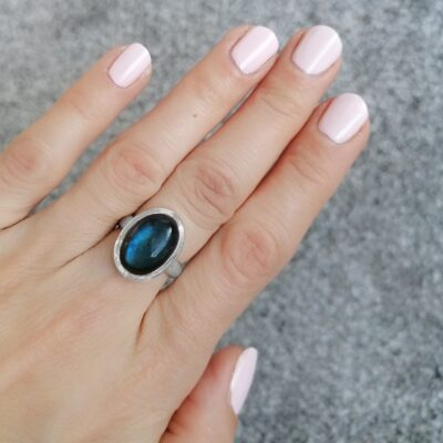 Bella Labradorite Ring, Irish jewellery ethically handcrafted in sterling silver by Caraliza Designs