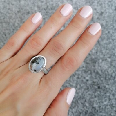 Bella dendritic agate ring, Irish jewellery ethically handcrafted in sterling silver by Caraliza Designs