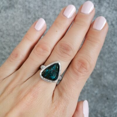 Bella Azurite Ring, Irish jewellery ethically handcrafted by Caraliza Designs