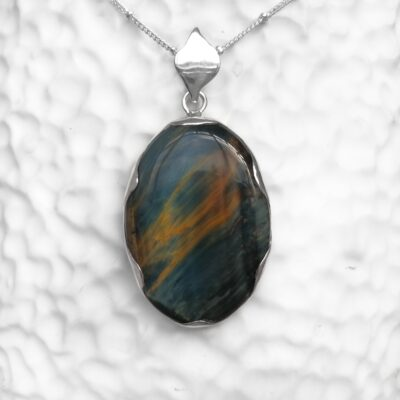 Tiger's Eye Statement Pendant, Irish jewellery ethically handcrafted in sterling silver by Caraliza Designs