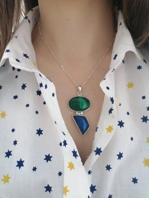 Malachite and Lapis Lazuli pendant, Irish jewellery ethically handcrafted by Caraliza Designs