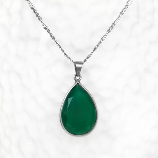 Green Onyx Dainty Drop Pendant, Irish jewellery ethically handcrafted in sterling silver by Caraliza Designs