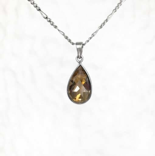 Citrine Dainty Drop Pendant, Irish jewellery ethically handcrafted in sterling silver by Caraliza Designs