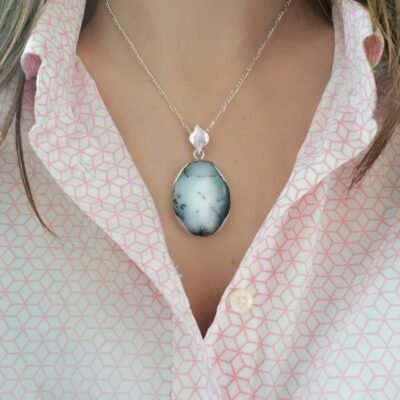 Rock of the Earth Dendritic Agate Statement pendant, ethical Irish jewellery handcrafted in sterling silver by Caraliza Designs