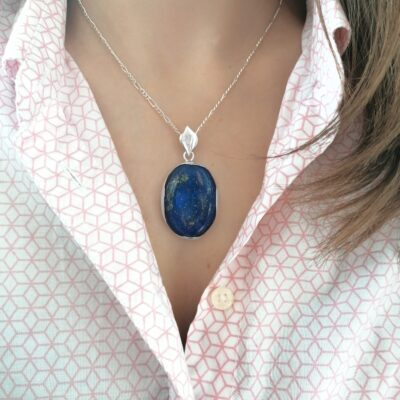 Statement Lapis Lazuli pendant, Irish jewellery ethically handcrafted in sterling silver by Caraliza Designs