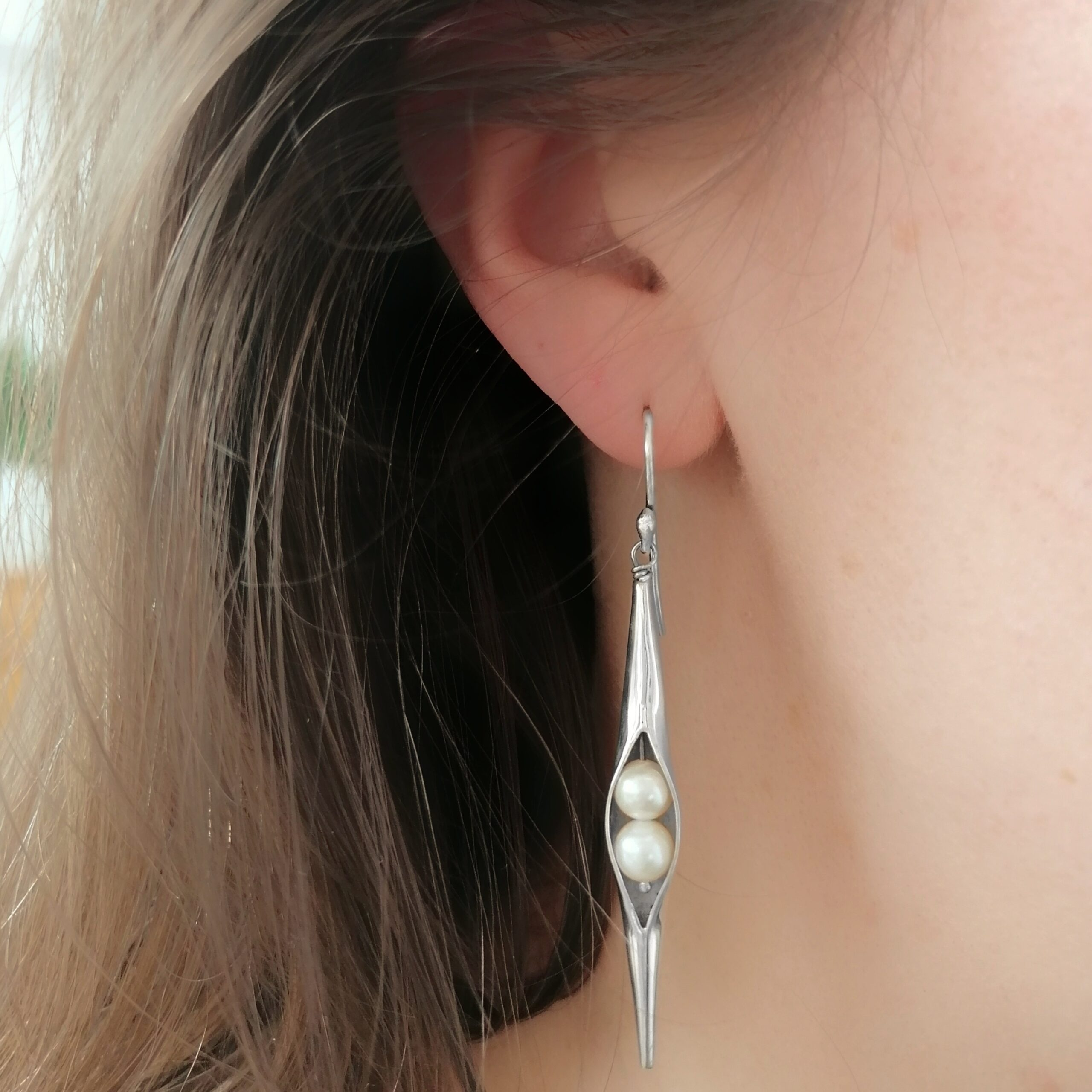 Black Pearl Seedpod Earrings, ethical jewellery handcrafted in sterling silver by Caraliza Designs
