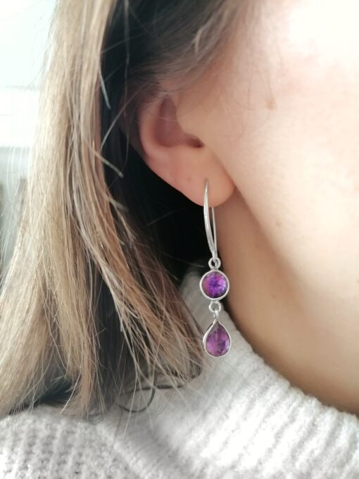 Amethyst Dainty Drops Earrings, Irish jewellery ethically handcrafted in sterling silver by Caraliza Designs