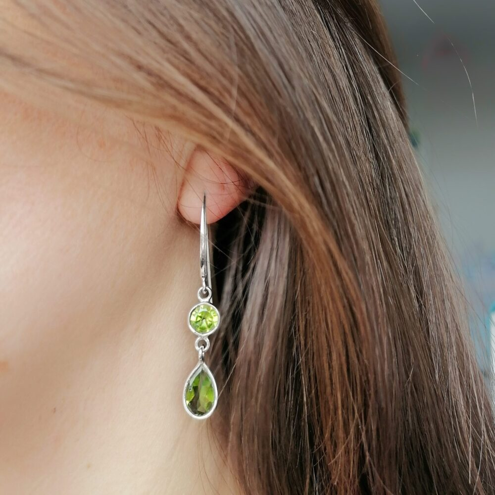 Peridot Dainty Drops Earrings, Irish jewellery ethically handcrafted in sterling silver by Caraliza Designs