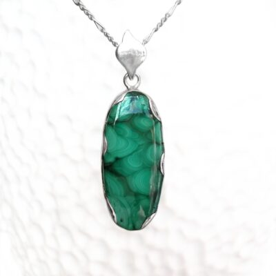 Rock of the Earth Malachite Statement Pendant, ethical Irish jewellery handcrafted in sterling silver by Caraliza Designs