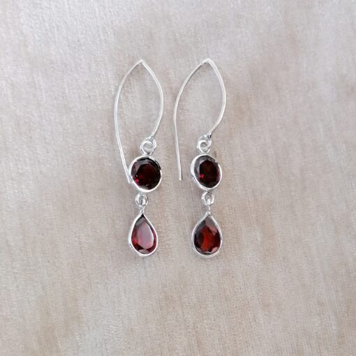 Garnet Dainty Drops Earrings, Irish jewellery ethically handcrafted in sterling silver by Caraliza Designs