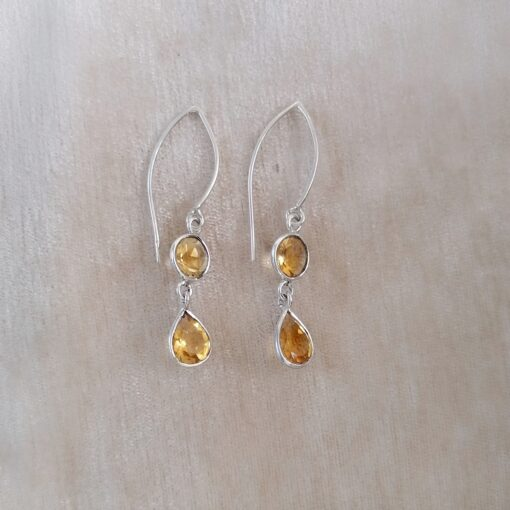 Citrine Dainty Drops Earrings, Irish jewellery ethically handcrafted in sterling silver by Caraliza Designs