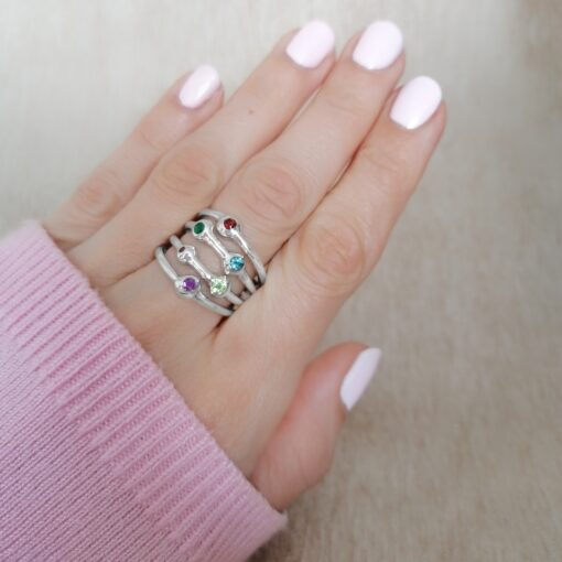 Stronger Together, multi-band gemstone ring in sterling silver,Irish jewellery ethically handcrafted by Caraliza Designs