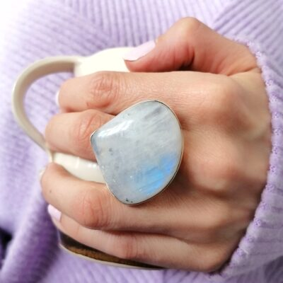 Rock of the Earth Moonstone ring, handcrafted in sterling silver, ethical Irish jewellery by Caraliza Designs