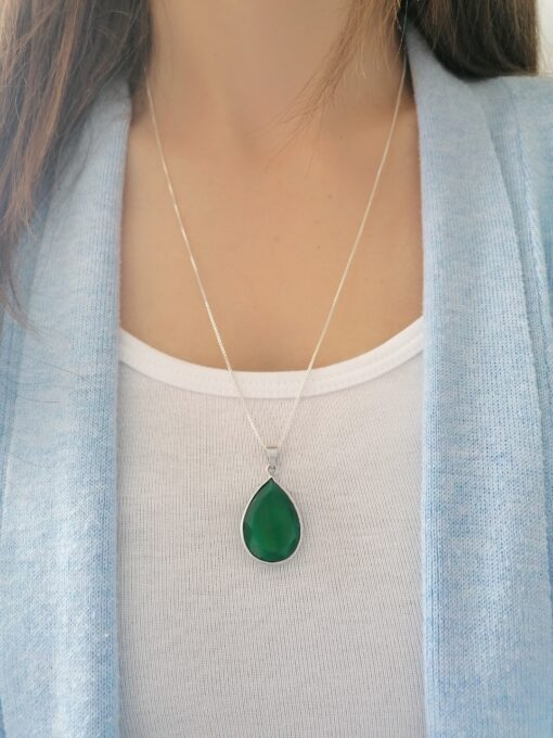 Green Onyx sterling silver pendant, Irish jewellery ethically handcrafted by Caraliza Designs