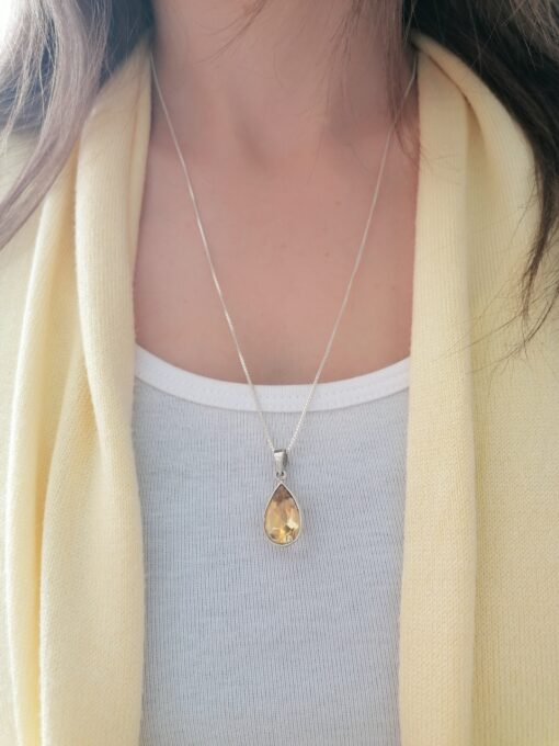 Citrine teardrop sterling silver pendant, Irish jewellery ethically handcrafted in sterling silver by Caraliza Designs