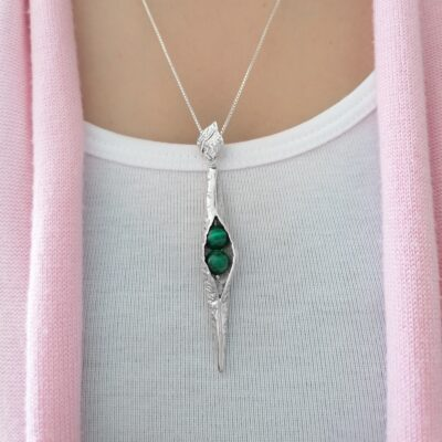 Seedpod pendant handcrafted in sterling silver, ethical Irish jewellery by Caraliza Designs