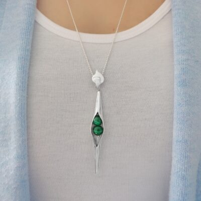 Malachite Seedpod pendant handcrafted in sterling silver, ethical Irish jewellery by Caraliza Designs
