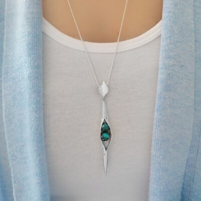 Turquoise Seedpod Pendant, Irish jewellery ethically handcrafted in sterling silver by Caraliza Designs