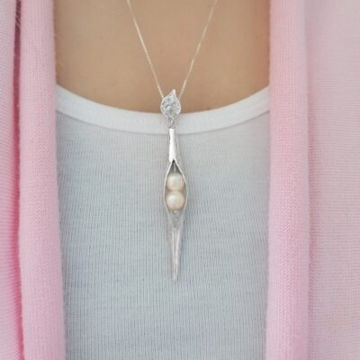 White Pearl Hammered Silver Seedpod Pendant, ethical jewellery handcrafted in sterling silver by Caraliza Designs