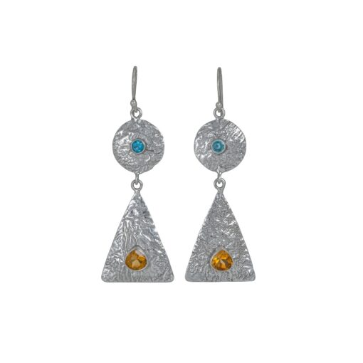 Ancient Geometry Blue Topaz Citrine Textured Earrings, Irish jewellery handcrafted in sterling silver by Caraliza Designs