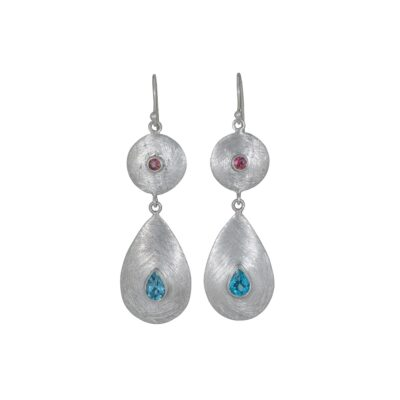 Ancient Geometry Pink Tourmaline Blue Topaz earrings, Irish jewellery handcrafted in sterling silver by Caraliza Designs