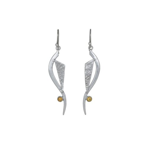 Chase Your Dreams Citrine earrings, ethical Irish jewellery handcrafted in sterling silver, by Caraliza Designs