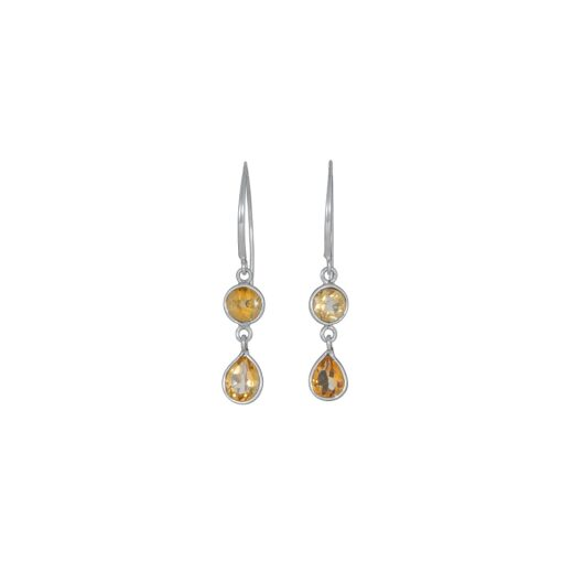 Citrine Dainty Drops earrings handcrafted in sterling silver, ethical Irish jewellery by Caraliza Designs