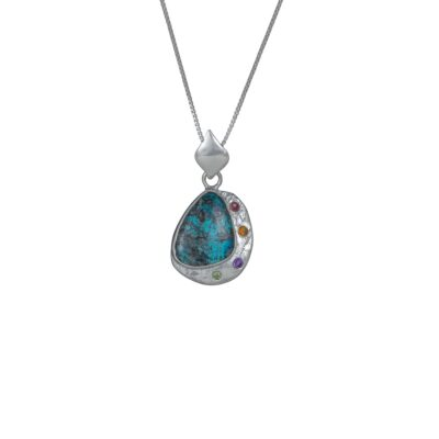Azurite Galaxy pendant, Irish jewellery ethically handcrafted in textured sterling silver by Caraliza Designs