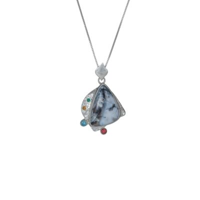 Dendritic Agate Galaxy pendant, Irish jewellery ethically handcrafted in textured sterling silver by Caraliza Designs