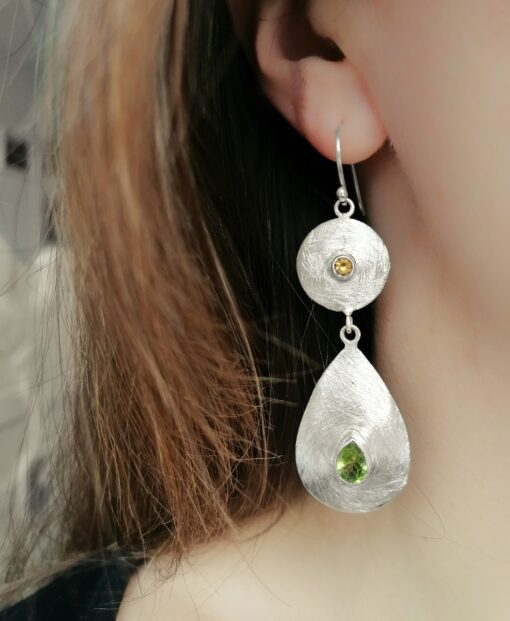 Ancient Geometry statement earrings, Irish jewellery ethically handcrafted in sterling silver by Caraliza Designs