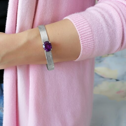 Treasure Me Amethyst cuff bracelet ethically handrafted in sterling silver, Irish jewellery by Caraliza Designs