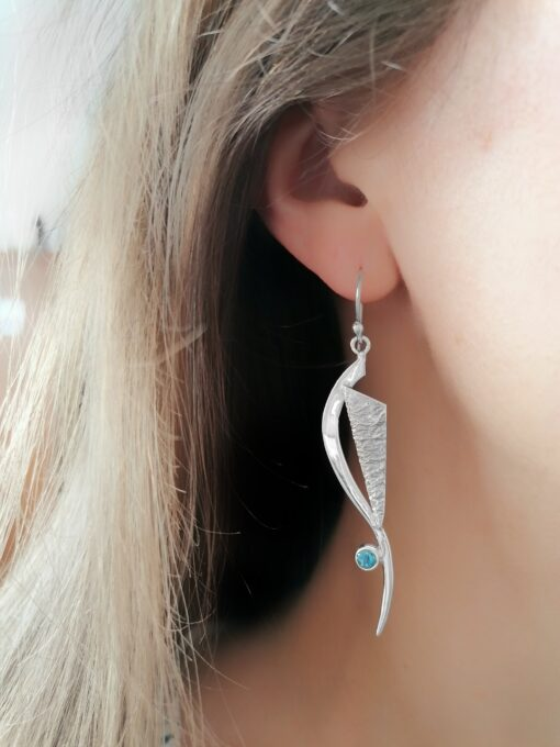 Chase Your Dreams Blue Topaz earrings, ethical Irish jewellery handcrafted in sterling silver, by Caraliza Designs