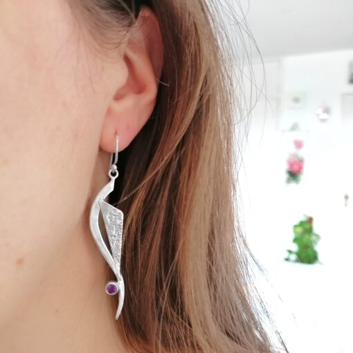 Chase Your Dreams Amethyst earrings, ethical Irish jewellery handcrafted in sterling silver, by Caraliza Designs