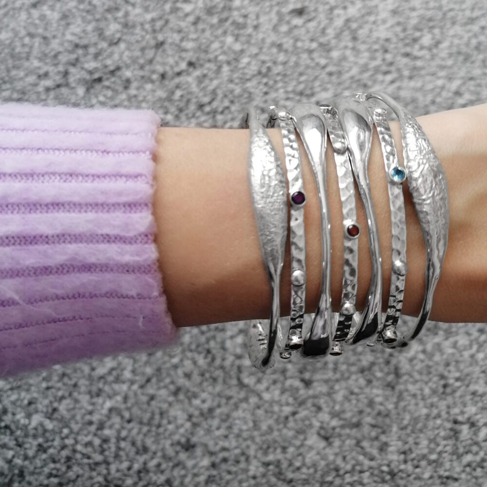 Sterling Silver Bangles, Irish jewellery ethically handcrafted by Caraliza Designs