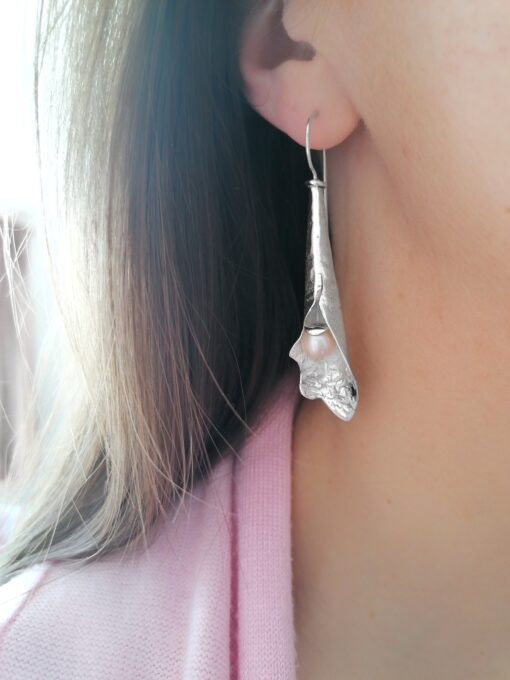 White Pearl Fuchsia earrings, Irish jewellery ethically handcrafted in textured sterling silver by Caraliza Designs