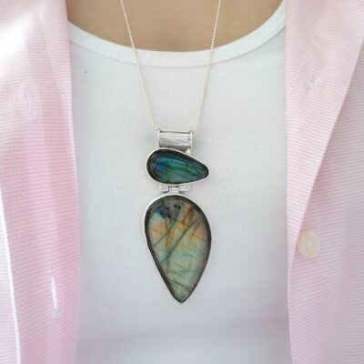 Valentina Labradorite statement pendant, Irish jewellery handcrafted in sterling silver by Caraliza Designs