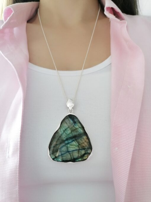 Rock of the Earth Labradorite statement pendant, Irish jewellery handcrafted in sterling silver by Caraliza Designs