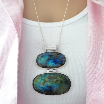Amelia Labradorite statement pendant, Irish jewellery handcrafted in sterling silver by Caraliza Designs
