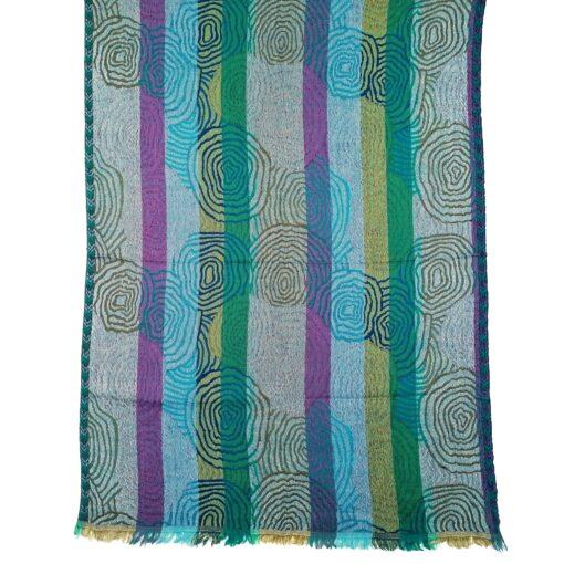 Turquoise Spirals Merino Wool Shawl by Caraliza Designs