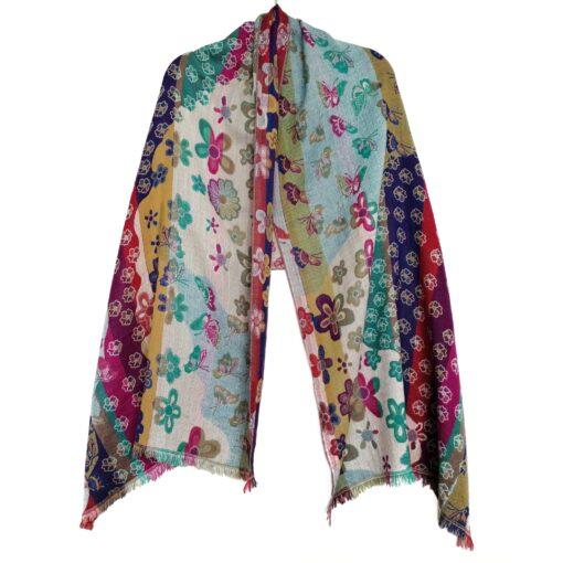 Rainbow Butterfly Garden Merino Wool Shawl by Caraliza Designs