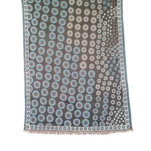 Coffee and Teal Kandinsky Merino Wool Shawl by Caraliza Designs