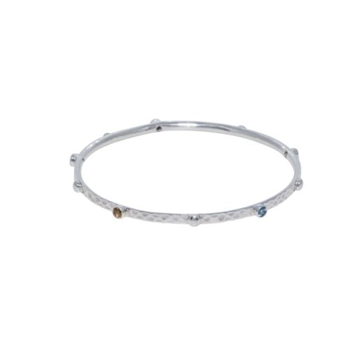 Tribal Elegance hammered gemstone silver bangle, Irish jewellery ethically handcrafted by Caraliza Designs