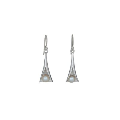 Blossom earrings handcrafted in sterling silver, ethical Irish jewellery by Caraliza Designs