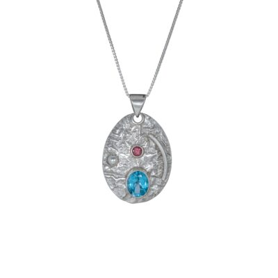 You Are My Universe Blue Topaz and Pink Tourmaline textured pendant, Irish jewellery ethically handcrafted by Caraliza Designs