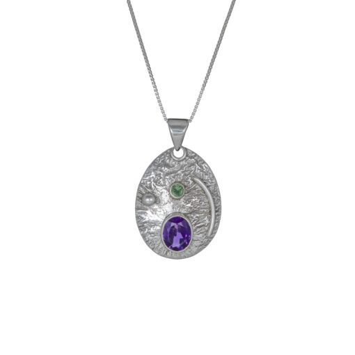 You Are My Universe Amethyst Peridot Pendant, Irish jewellery ethically handcrafted in sterling silver by Caraliza Designs