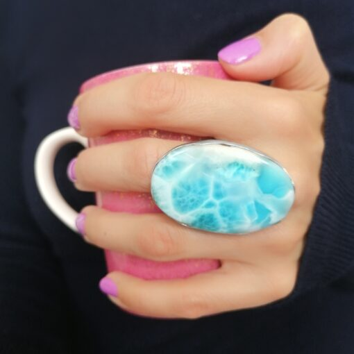 Rock of the Earth statement ring with Larimar, Irish jewellery ethically handcrafted in sterling silver by Caraliza Designs