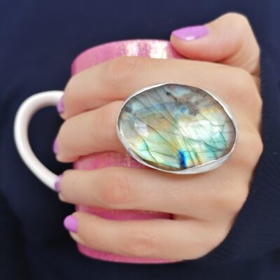 Rock of the Earth Labradorite statement ring, Irish jewellery handcrafted in sterling silver by Caraliza Designs